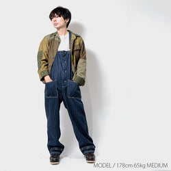 Houston -  PINSTRIPE DENIM DECK PANTS #1937 條紋單寧甲板吊帶褲