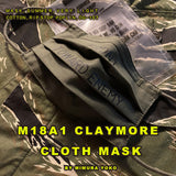 FRONT, TOWARD ENEMY M18A1 CLAYMORE CLOTH MASK, BIRDIE MADE