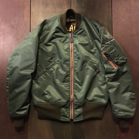 【uscountrystore】-  BIRDIE MADEBIRDIE MADE VNAF TIGER STRIPE L-2B FLIGHT JACKET w/ EMBROIDERIES, ARMY SHADE 255, REVERSIBLE, TEST SAMPLE