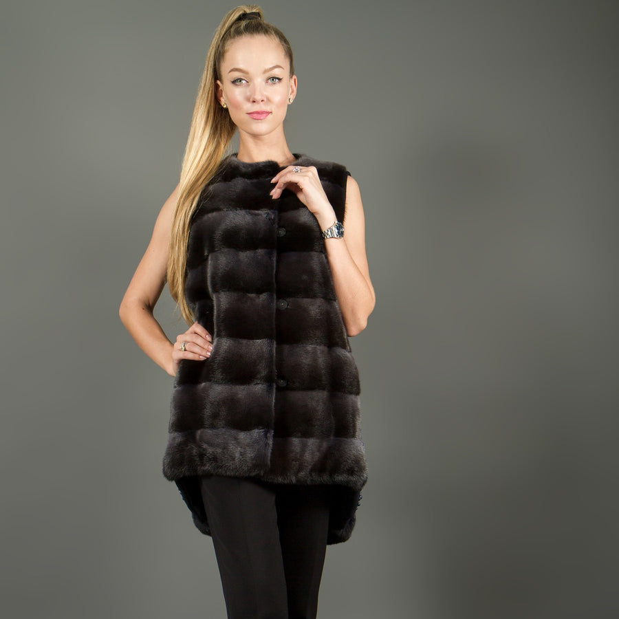 Black mink and cashmere vest