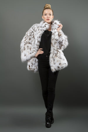 White Lynx fur coat
