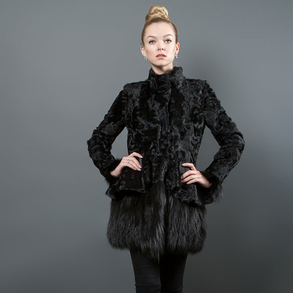 Black Astragan coat with Fox