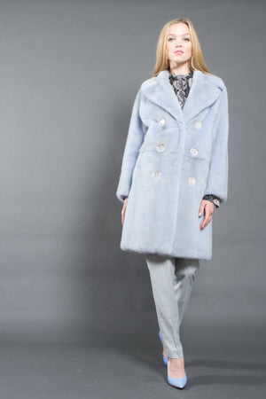 Light Blue Mink Fur Coat