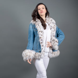 Jeans Jacket with Canadian Lynx Fur