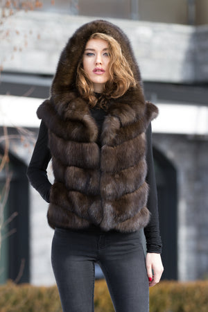 Dark-brown Russian Sable Fur Gilet with Hood