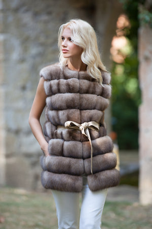 Russian Barguzin Sable Fur Vest with Belt