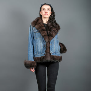 Jeans Jacket with Russian Barguzin Sable
