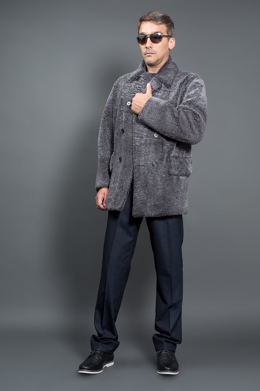 Grey Shearling fur coat