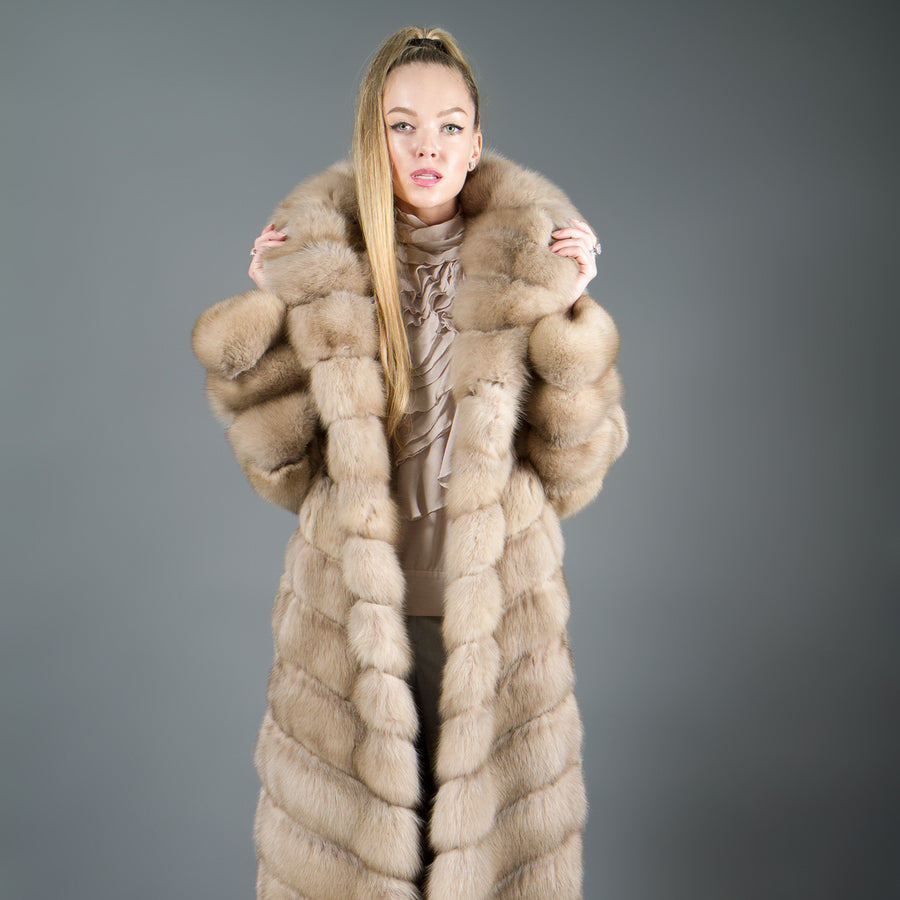 Light Tortora Russian Sable coat with hood