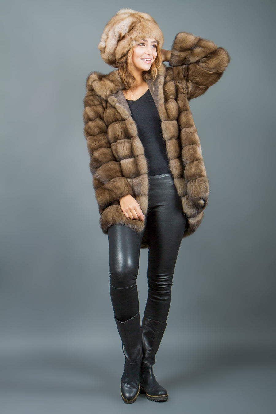 Russian Sable Fur Parka with hood