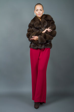 Russian Sable Fur Jacket with large Notched Collar