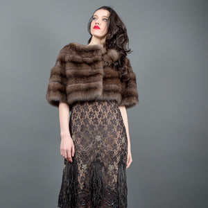 Strong Silvery Russian Barguzin Fur Bolero