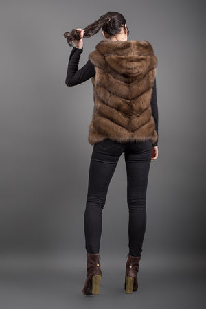 Tortora Russian Sable Vest with hood and zip