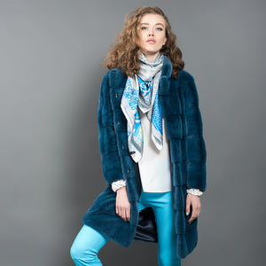 Azure Blue Mink Fur Coat