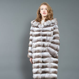 Beige Chinchilla Fur Coat with Hood