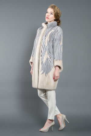 Beige-Grey Mink Fur Coat