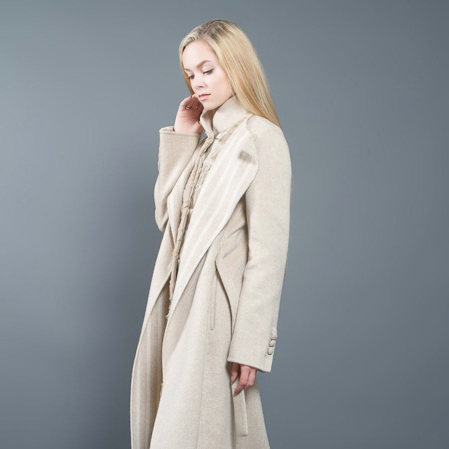 Beige Loro Piana Cashmere and Astrakhan Coat