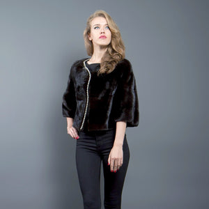 Black Mink Fur Jacket with Gold Trim