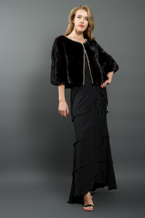 Black Mink Bolero with Gold Trim
