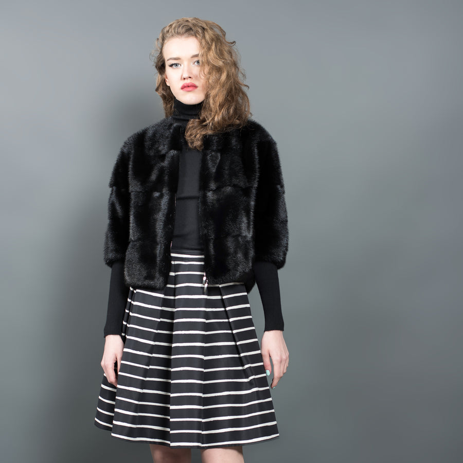 Black Mink Fur Jacket with Zip