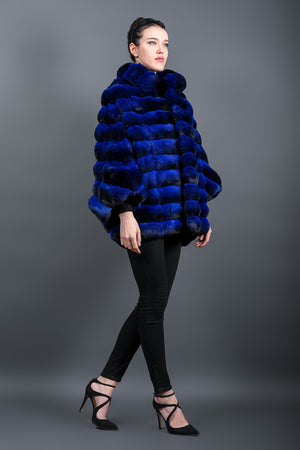 Electric-blue long Chinchilla Poncho with large standing collar