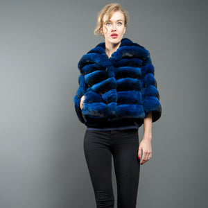 Bright Blue Chinchilla Fur Jacket