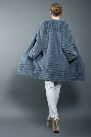 Grey Blue Mink Fur Coat