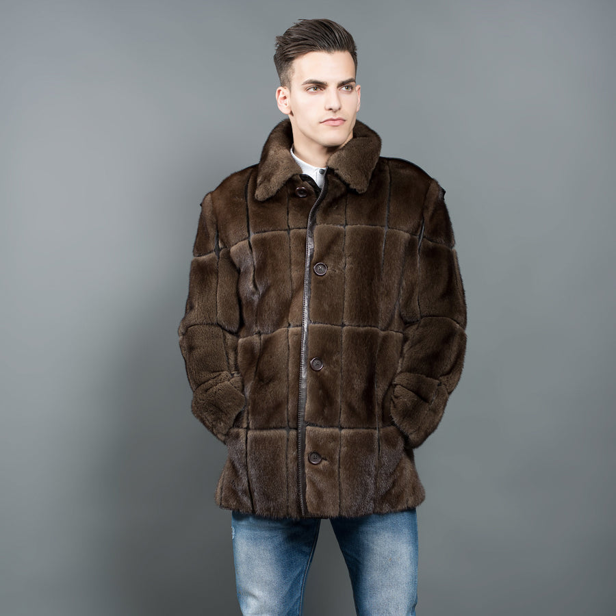 Natural Mink Fur men's Jacket