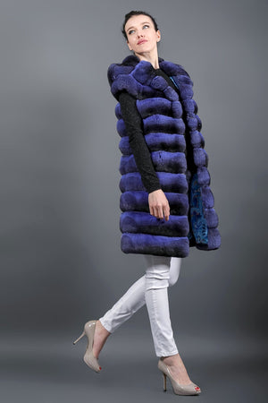 Violet Chinchilla fur vest with hood
