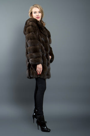 Dark Brown Russian Sable Fur Coat with Hood