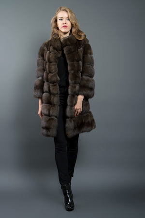 Brown Russian Barguzin Sable Fur coat with Python Details
