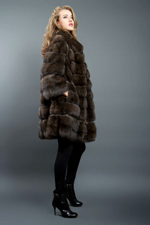 Russian Barguzin Sable Fur coat with Python Details