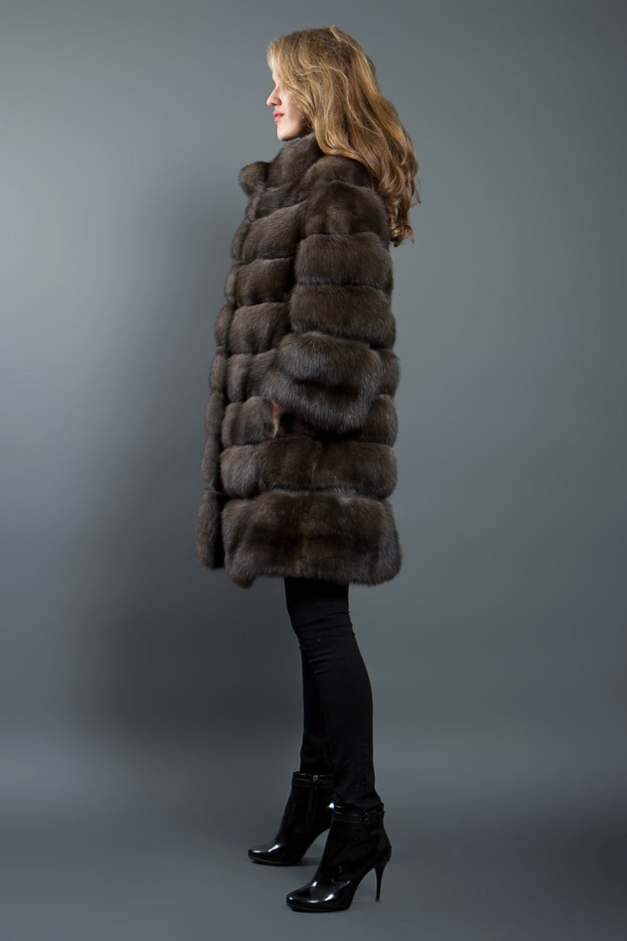Russian Sable Fur coat with Python Details