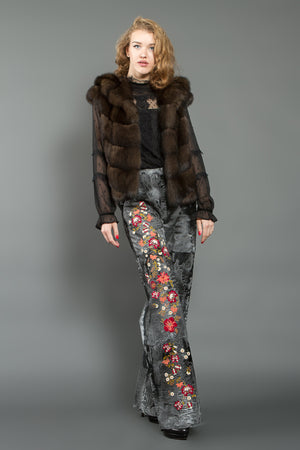 Dark Grey Astrakhan Fur Trousers