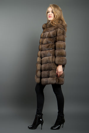 Dark Tortora Russian Sable Fur Coat
