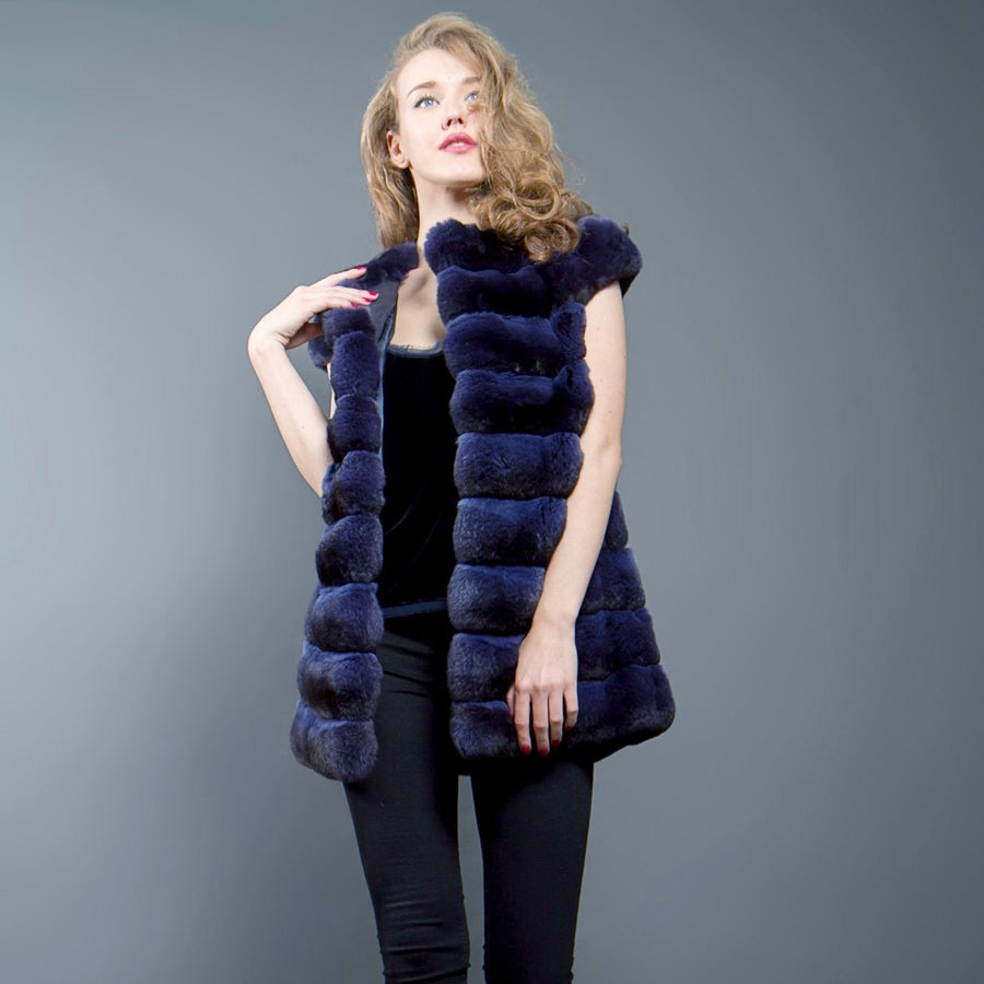 Ink Blue Chinchilla Fur Vest (Ink Blue)
