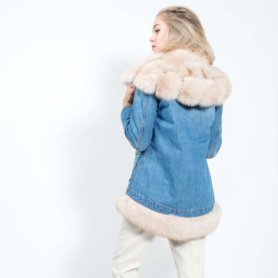 Jeans jacket with Russian sable
