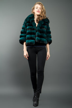 Emerald  Green Chinchilla Fur Jacket