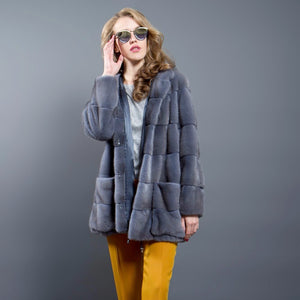 Grey-Blue Mink Parka with Hood and Patch Pockets