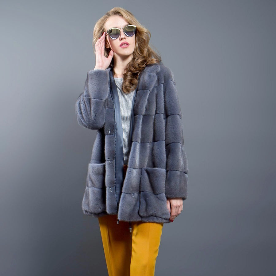 Grey-Blue Mink fur Parka with Hood and Patch Pockets