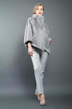 Natural Light Grey Asymmetrical Mink Fur Poncho