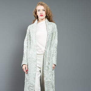 Light Green Astrakhan Fur Coat with Mink Collar