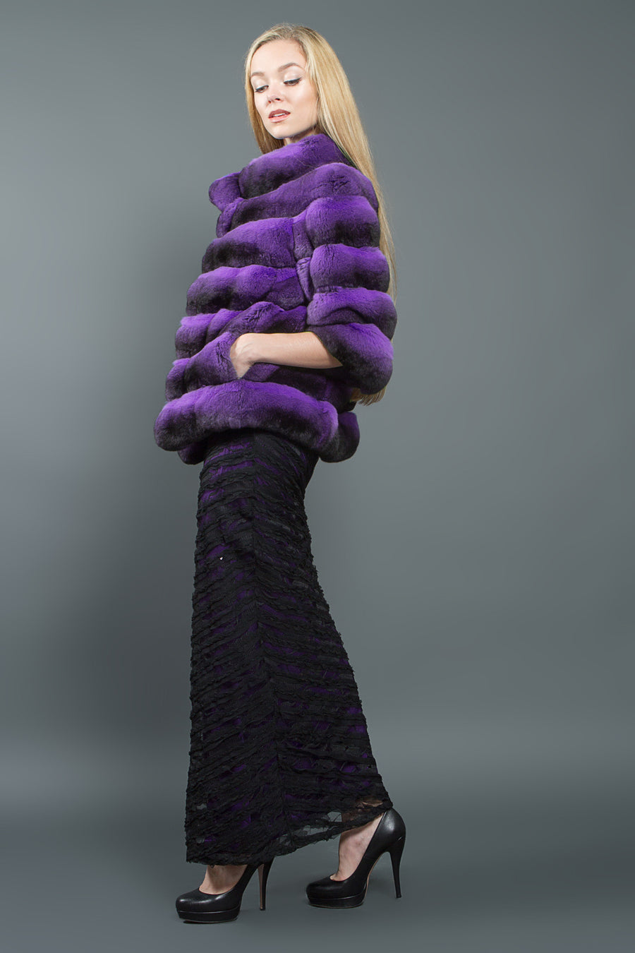 Violet Chinchilla Fur Jacket