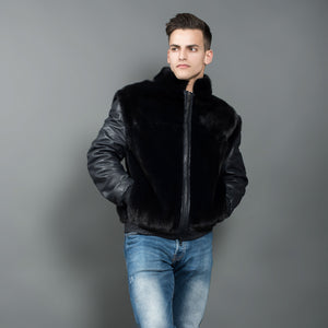 Dark Blue Mink Fur Jacket