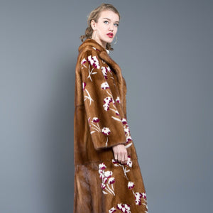 Natural Brown Mink Fur Coat with Floral Design