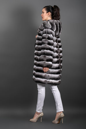 Natural Chinchilla Fur coat with hood