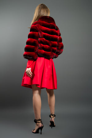 Red Chinchilla Fur Jacket