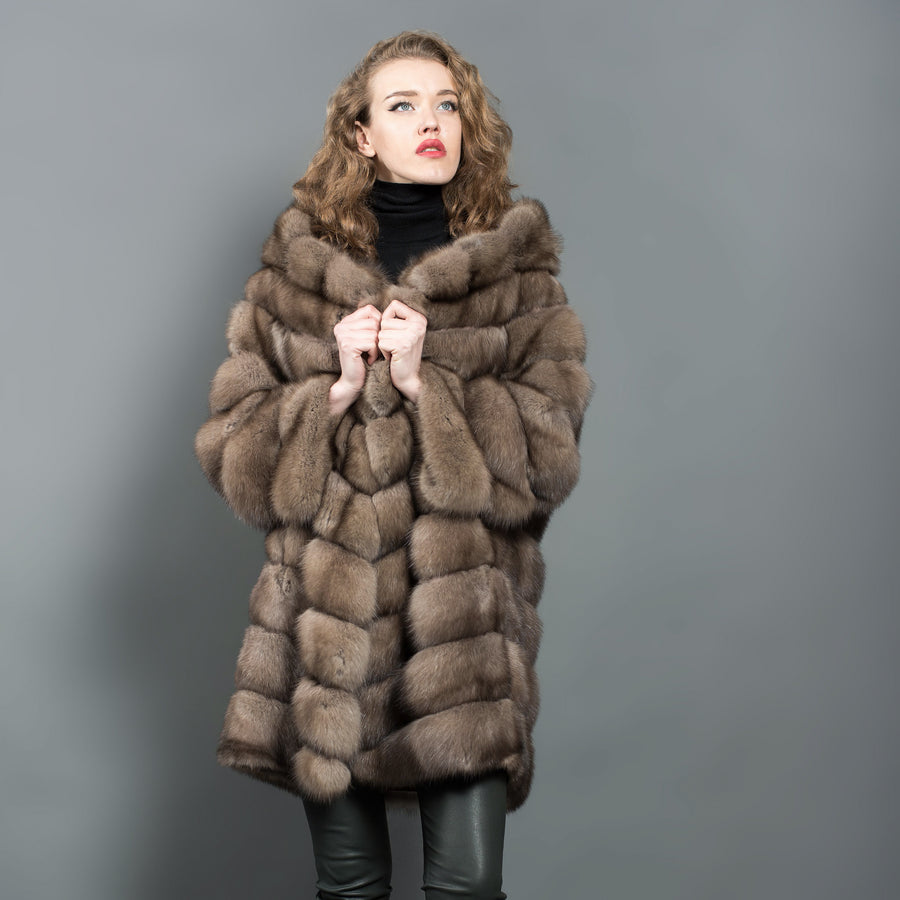 Reversible Russian Barguzin Sable Fur Coat with Hood
