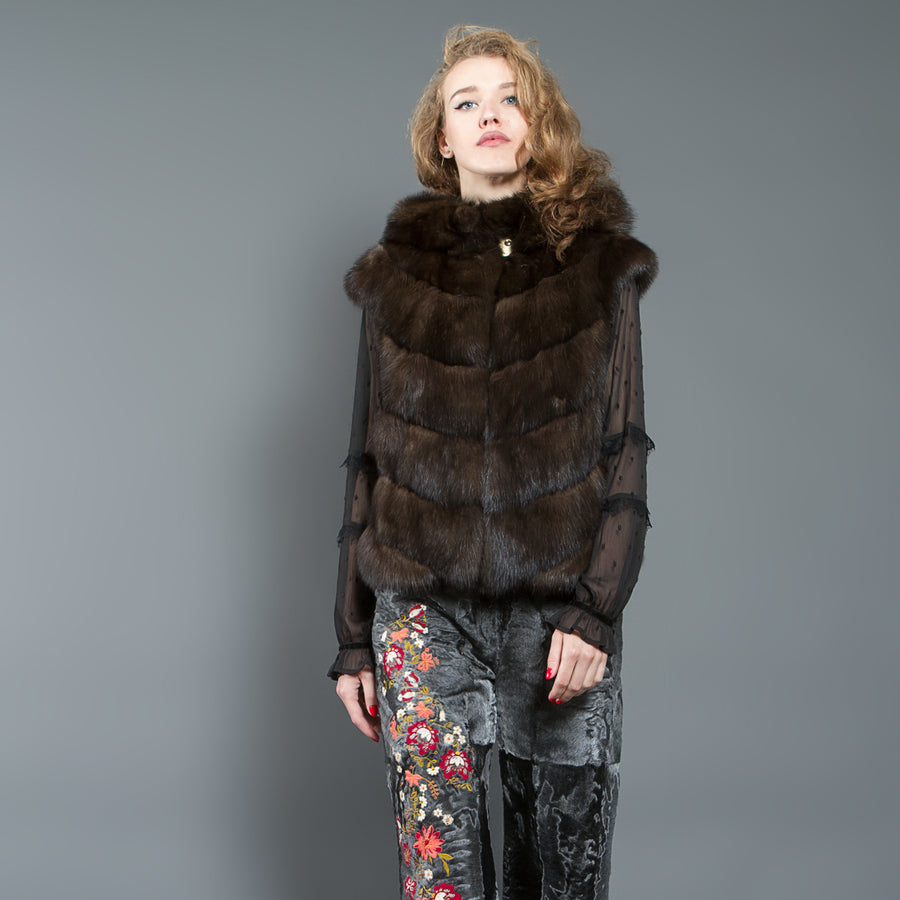 Dark-brown Russian Sable Fur vest with Hood