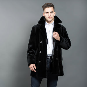Shaved Black Mink Fur Coat